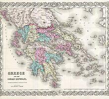 Vintage Map of Greece (1855)  by BravuraMedia