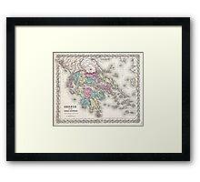 Vintage Map of Greece (1855)  Framed Print