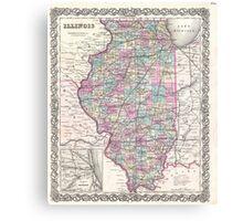 Vintage Map of Illinois (1855)  Canvas Print