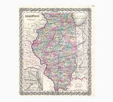 Vintage Map of Illinois (1855)  Unisex T-Shirt