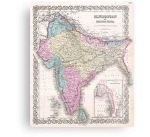 Vintage Map of India (1855) Metal Print