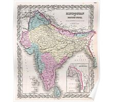 Vintage Map of India (1855) Poster