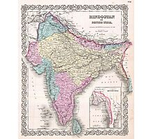 Vintage Map of India (1855) Photographic Print