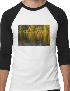 Colorful Ripples - Forest Lake in Autumn Men's Baseball ¾ T-Shirt