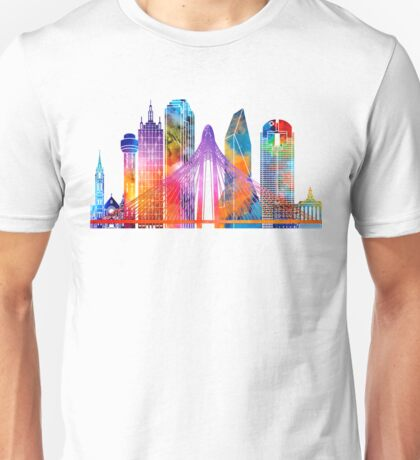 Dallas landmarks watercolor poster Unisex T-Shirt