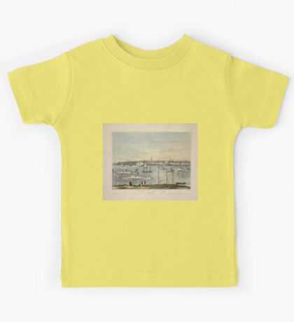657 View of New York from Brooklyn Heights Names on 2 lines of 16 buildings etc Kids Tee