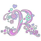 The Letter R flower hearts monogram  by Sarah Trett