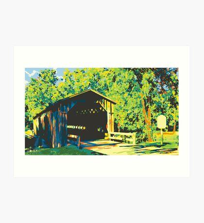 Historic Covered Bridge - Cedarburg WI (bold) Art Print