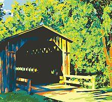 Historic Covered Bridge - Cedarburg WI (bold) by katherinepaulin