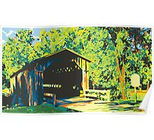 Historic Covered Bridge - Cedarburg WI (bold) Poster