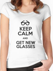 Keep calm and get new glasses Women's Fitted Scoop T-Shirt