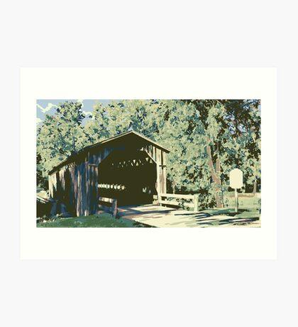 Historic Covered Bridge - Cedarburg WI (muted) Art Print