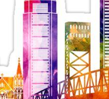 Jacksonville landmarks watercolor poster Sticker