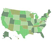 United States Map - Green Photographic Print