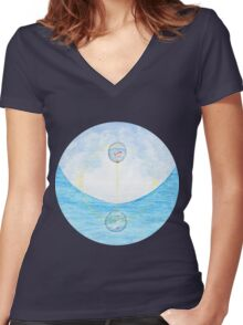 Surreal Fish And Bird Painting Women's Fitted V-Neck T-Shirt