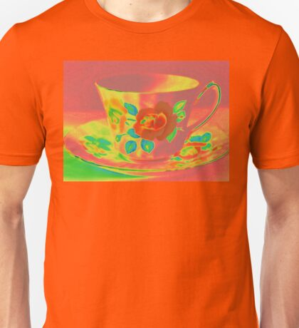 Still Life | Vintage Red Coral Rose Teacup | Old Floral Tea Cup | Pop Art Unisex T-Shirt