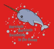 Awesome Narwhals Swimming In The Ocean Baby Tee