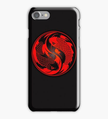 Red and Black Yin Yang Koi Fish iPhone Case/Skin