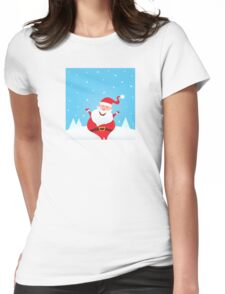 Happy Santa Claus with falling snow and trees Womens Fitted T-Shirt