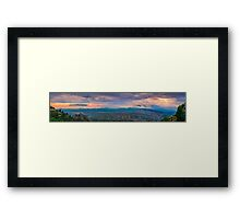 Cloudy sunset mountain view panorama Framed Print