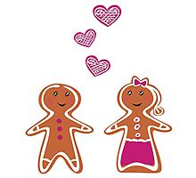 Vector Gingerbread People - Couple isolated on white Photographic Print