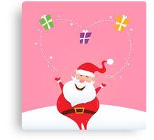 Santa juggling with christmas gifts and making big heart Canvas Print