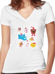 Cute animal icons with red Santa hats isolated on white Women's Fitted V-Neck T-Shirt