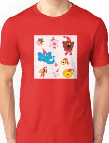Cute animal icons with red Santa hats isolated on white Unisex T-Shirt