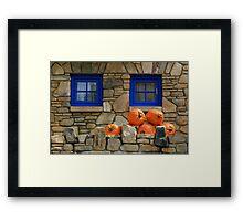 Blue Windows and Pumpkins Framed Print