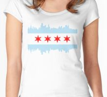 Chicago Skyline Flag Women's Fitted Scoop T-Shirt