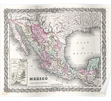 Vintage Map of Mexico (1855)  Poster