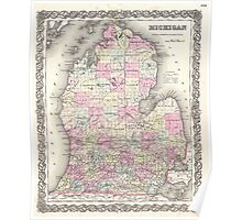 Vintage Map of Michigan (1855) Poster
