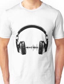 Headphones - Black Unisex T-Shirt