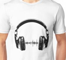 Headphones - Black Unisex T-Shirt