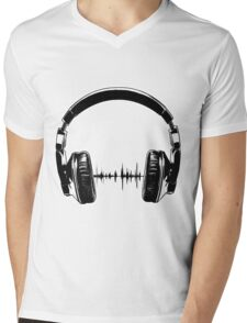 Headphones - Black Mens V-Neck T-Shirt