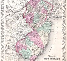 Vintage Map of New Jersey (1855) by BravuraMedia