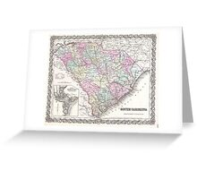 Vintage Map of South Carolina (1855) Greeting Card