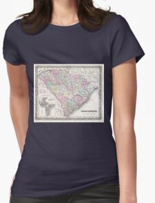 Vintage Map of South Carolina (1855) Womens Fitted T-Shirt
