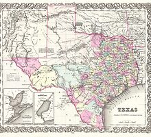 Vintage Map of Texas (1855)  by BravuraMedia