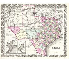 Vintage Map of Texas (1855)  Photographic Print