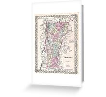 Vintage Map of Vermont (1855) Greeting Card