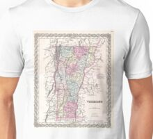 Vintage Map of Vermont (1855) Unisex T-Shirt