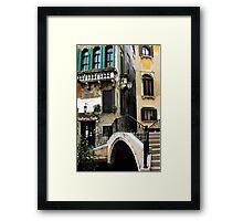 Bridge to the trattoria, Venice,Italy Framed Print