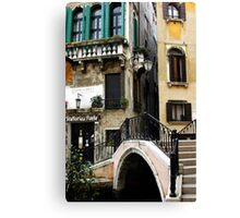 Bridge to the trattoria, Venice,Italy Canvas Print