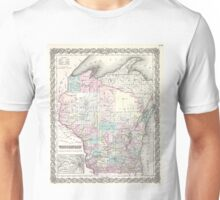 Vintage Map of Wisconsin (1855) Unisex T-Shirt