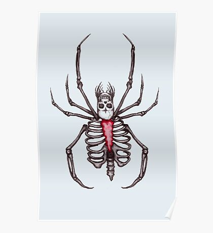 Black Widow Spider Skeleton Poster