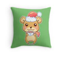 Santa Hat Bear - Merry Christmas! Throw Pillow