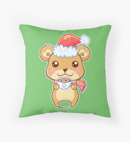 Santa Hat Bear - Merry Christmas! Throw Pillow