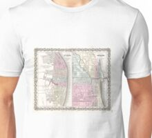 Vintage Map of Chicago and St. Louis (1855)  Unisex T-Shirt