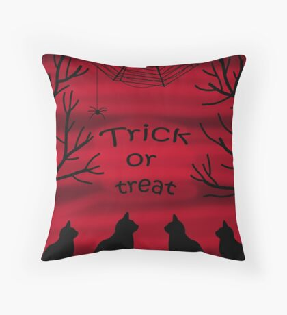 Trick or treat - black cats Throw Pillow
